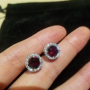 Birthstone ruby stud earrings